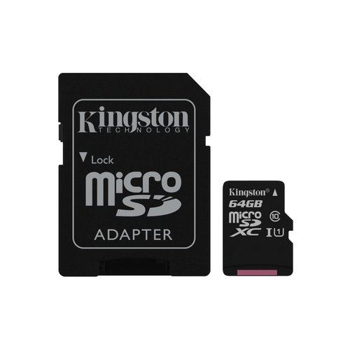 SD-MICRO KINGSTON 64GB incl. Adapter CLASS 10 UHS-I 80MB/s + ADATTATORE Canvas Select - SDCS/64GB